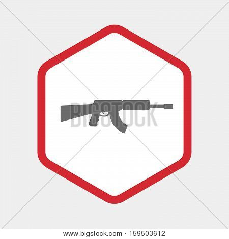 Isolated Hexagon With  A Machine Gun Sign