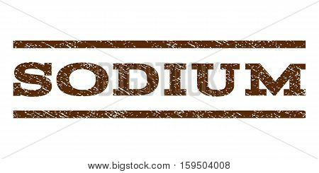 Sodium watermark stamp. Text tag between horizontal parallel lines with grunge design style. Rubber seal brown stamp with dust texture. Vector ink imprint on a white background.