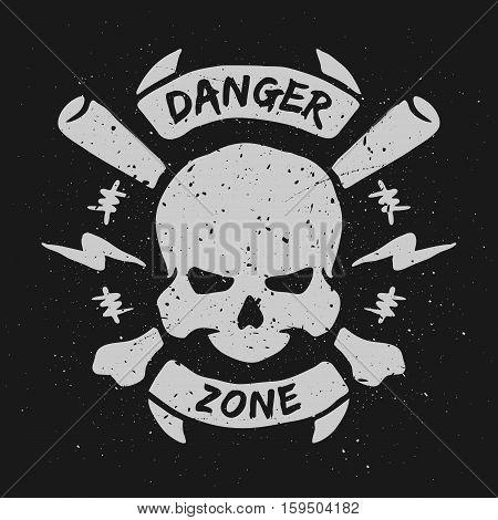 Danger zone, hand drawn emblem. Vector illustration.