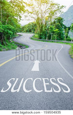 Road that says success in the asphalt on S curve road in the green view.