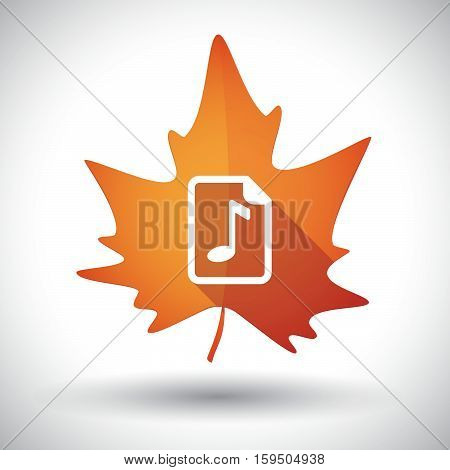 Isolated Orange Leaf With  A Music Score Icon