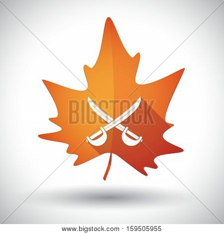 Isolated Orange Leaf With  Two Swords Crossed