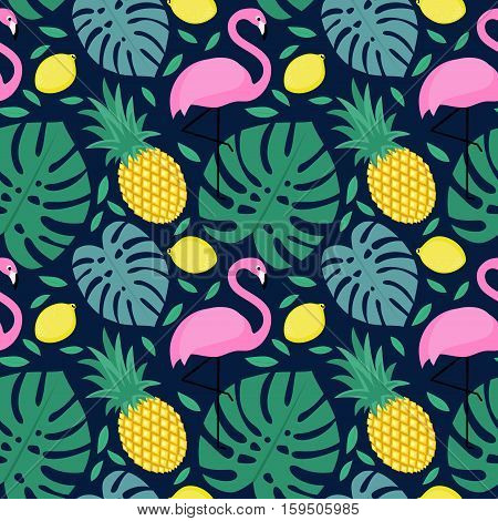 Seamless pattern with flamingo, pineapple, lemon and green palm leaves on dark blue background. Tropical monstera leaves illustration with fruits and exotic bird.Fashion design for textile, wallpaper.