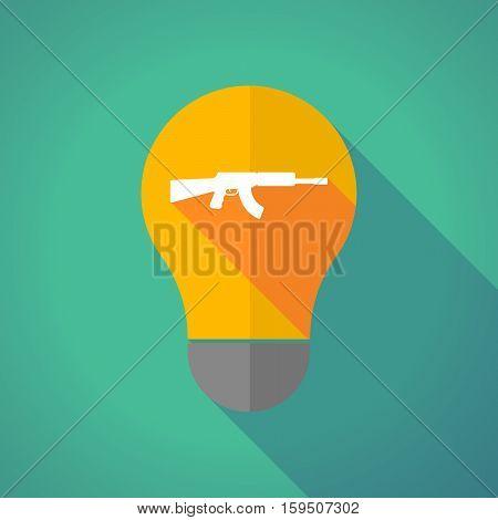 Long Shadow Bulb With  A Machine Gun Sign
