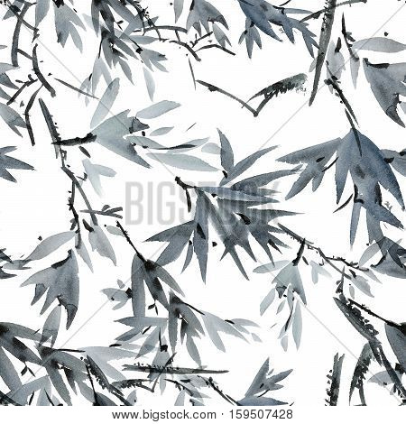 Watercolor and ink tree foliage pattern in style sumi-e u-sin. Oriental traditional painting. Seamless pattern.