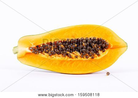 Ripe papaya is healthy fruit and  high nutritional value on the white background isolated