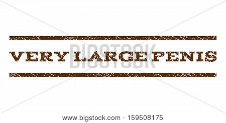 Very Large Penis watermark stamp. Text caption between horizontal parallel lines with grunge design style. Rubber seal brown stamp with scratched texture. Vector ink imprint on a white background.
