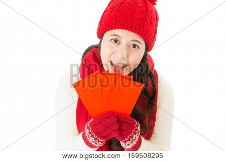 Smile Woman Holding Lucky Money In Red Envelope