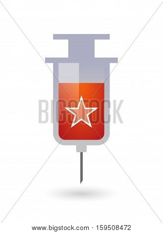 Isolated Syringe With  The Red Star Of Communism Icon