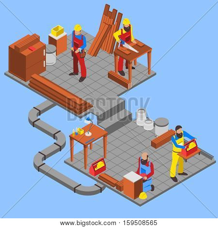 Woodwork people isometric composition with tools on blue background vector illustration