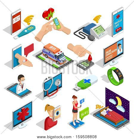 Digital medicine isometric icons set of devices gadgets procedures and tools of health control isolated vector illustration