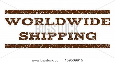 Worldwide Shipping watermark stamp. Text caption between horizontal parallel lines with grunge design style. Rubber seal brown stamp with unclean texture. Vector ink imprint on a white background.