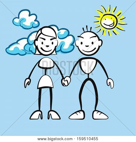 Couple Smiling With Clouds And Sun