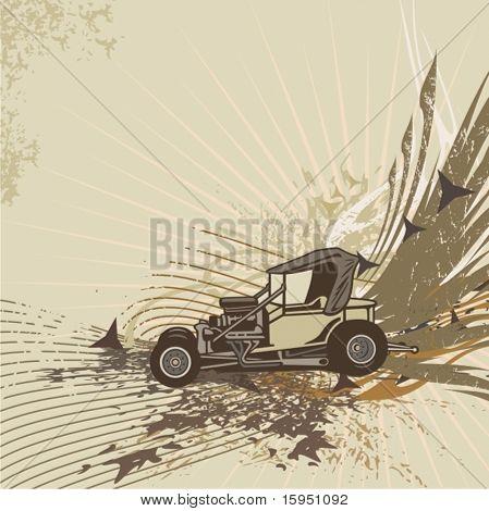 Hot rod background with a retro car - Original design