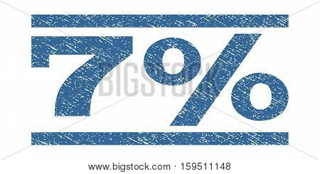 7 Percent watermark stamp. Text caption between horizontal parallel lines with grunge design style. Rubber seal cobalt blue stamp with dust texture. Vector ink imprint on a white background.