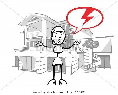 Stick Figure Woman House Insurance Case