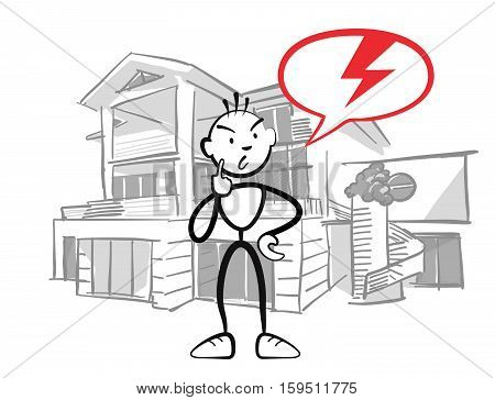 Stick Figure Man Reports Insurance Damage To House