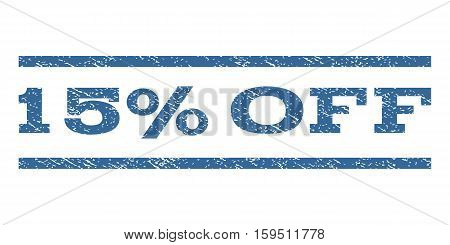 15 Percent Off watermark stamp. Text tag between horizontal parallel lines with grunge design style. Rubber seal cobalt blue stamp with unclean texture. Vector ink imprint on a white background.