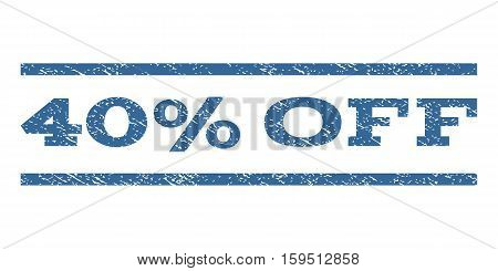 40 Percent Off watermark stamp. Text caption between horizontal parallel lines with grunge design style. Rubber seal cobalt blue stamp with dirty texture. Vector ink imprint on a white background.