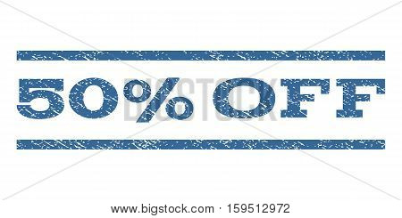 50 Percent Off watermark stamp. Text caption between horizontal parallel lines with grunge design style. Rubber seal cobalt blue stamp with dust texture. Vector ink imprint on a white background.