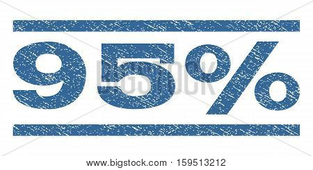 95 Percent watermark stamp. Text caption between horizontal parallel lines with grunge design style. Rubber seal cobalt blue stamp with scratched texture. Vector ink imprint on a white background.