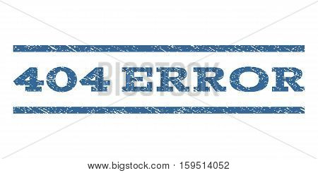 404 Error watermark stamp. Text tag between horizontal parallel lines with grunge design style. Rubber seal cobalt blue stamp with dirty texture. Vector ink imprint on a white background.