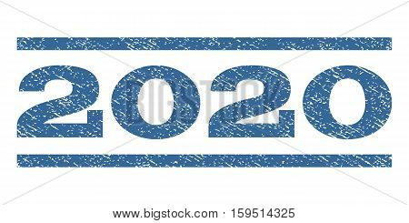 2020 watermark stamp. Text caption between horizontal parallel lines with grunge design style. Rubber seal cobalt blue stamp with dirty texture. Vector ink imprint on a white background.