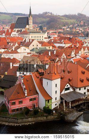 Bird's-eye View Of Cesky Krumlov In Czech Republic