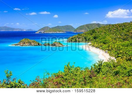 Caribbean, Trunk Bay on St John island. US Virgin Islands