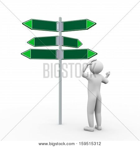 3D Man And Empty Road Sign