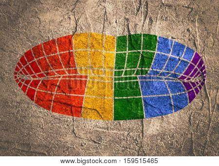 Lips painted by LGBT group colors. LGBT or GLBT is an initialism that stands for lesbian, gay, bisexual, and transgender.Wire frame polygonal female lips. Concrete textured