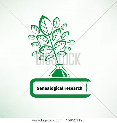 Genealogical research. Vector illustration. Pen in the form of tree, ink and book. Logo, icon of genealogy, family history.