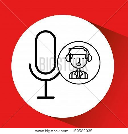 man hand drawing listening music microphone vector illustration eps 10