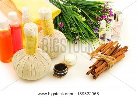 Spa compress balls bottles of aroma oil decorative flowers orchid cream bunch of cinnamon and green fresh plant on white background