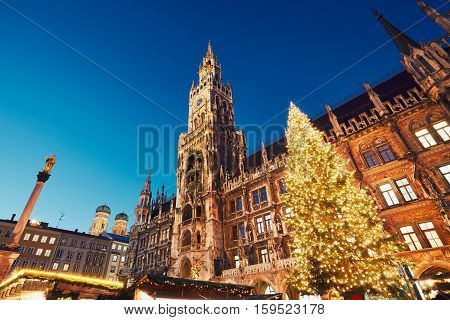 Marienplatz with the Christmas market in Munich Germany