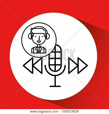 man hand drawing listening music microphone forward vector illustration eps 10