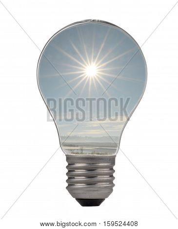 a sun bulb on a white background