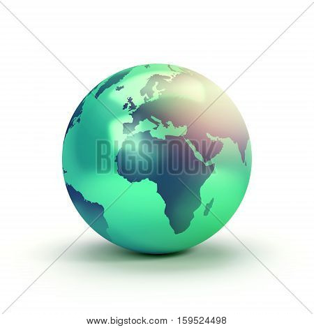 Green planet earth symbol isolated on white showing the European and African continents - 3D illustration