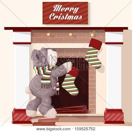 Teddy Bear ready for Christmas vector illustration. Teddy Bear hangs stocking on the fireplace and ready for Christmas.