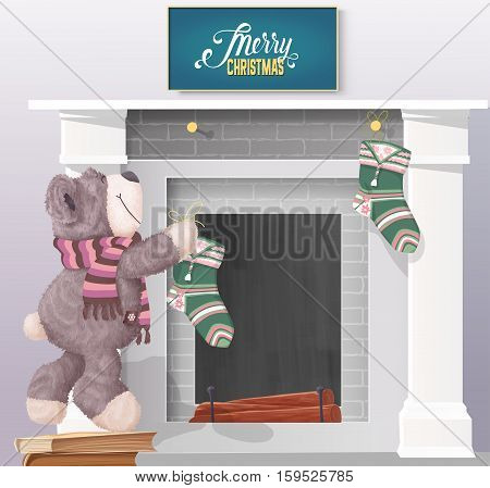 Teddy Bear preparing for Christmas vector illustration. Teddy Bear hangs stocking on the fireplace and ready for Christmas.
