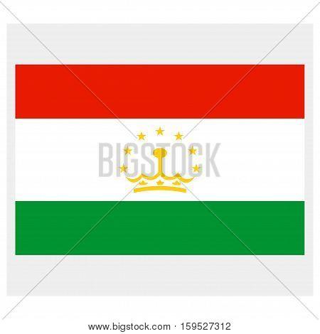 Flag of Tajikistan on a grey background