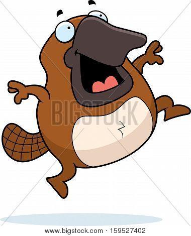 Cartoon Platypus Jumping
