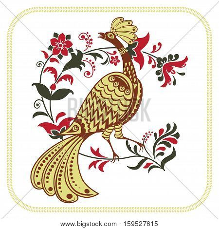 Fairy bird and whimsical floral branch. Character of Russian fairy tales. Ethnic Russian style.
