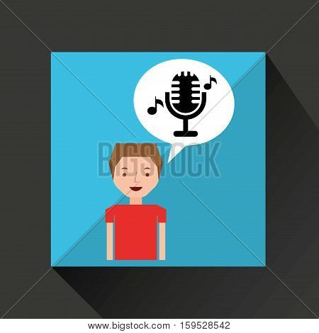 young boy music concept microphone classic vector illustration eps 10
