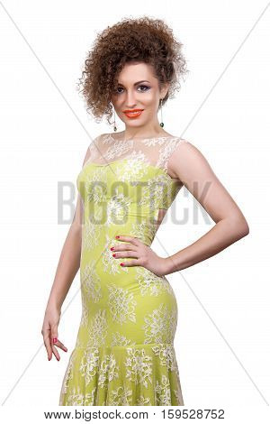 young beautiful woman on a white background