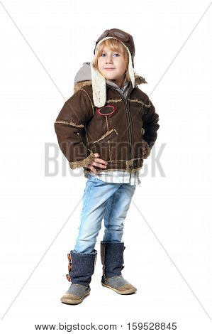 Full lenth portrait of cute little boy isolated on white background