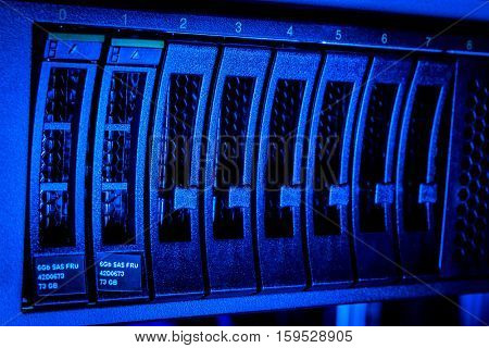 Detail of hard drive cluster in data center