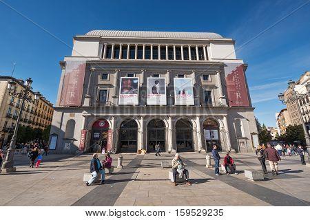 MADRID SPAIN - NOVEMBER 13: Madrid royal theater on November 13 2016 in Madrid Spain.