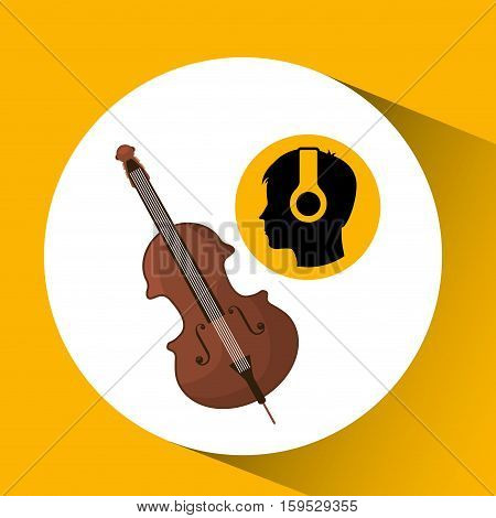 head silhouette listening music fiddle vector illustration eps 10