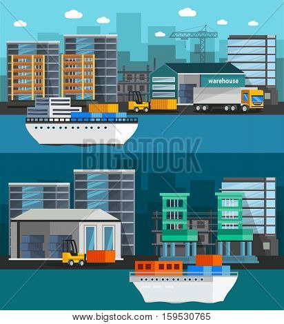 Orthogonal banners with sea port and cargo boats warehouse and truck on city background isolated vector illustration